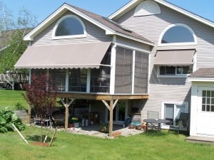 Taupe Awning and window awning