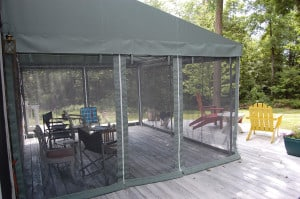 Canopy with Mesh Sides located on a deck
