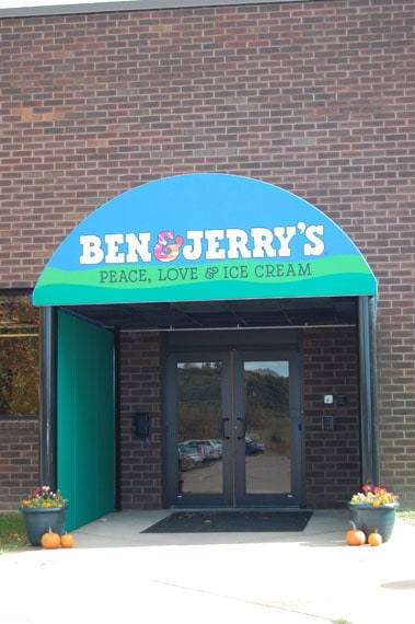 Creative graphics on entrance awning